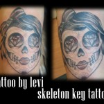 Sugar Skull Tattoo by Levi Greenacres, Skeleton Key Tattoo